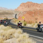 Bikers in tour in moto in California